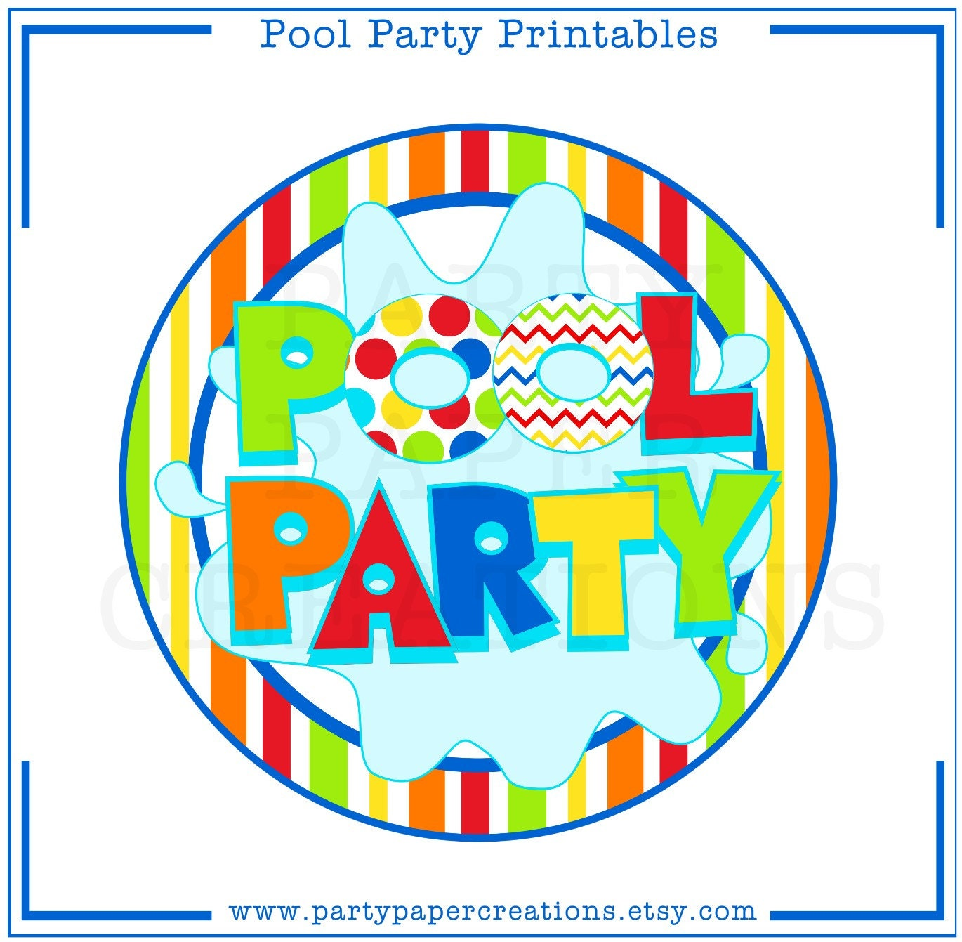 Instant download party printables pool party tablescape for Free clipart swimming pool party