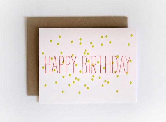 Confetti Happy Birthday / Letterpress Printed Card