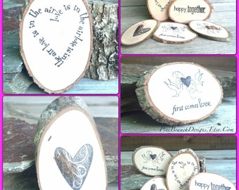 Party Supplies Woodland Table Decor || 10 Branch Slices || LOVE theme Place Cards, Table Confetti, Gift Basket Inserts