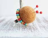 Brown Felt Pincushion Ring