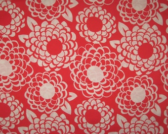 Red and white floral fabric 1 yard Sketchbook by P and B Textiles