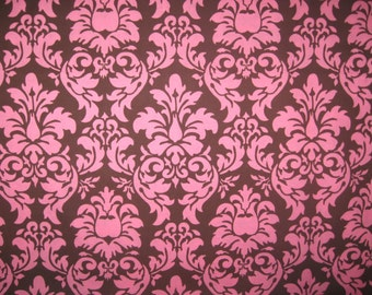 Michael Miller Dandy Damask brown pink 2 yard 10""