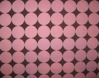 Michael Miller Disco Dot pink brown fabric 1 yard