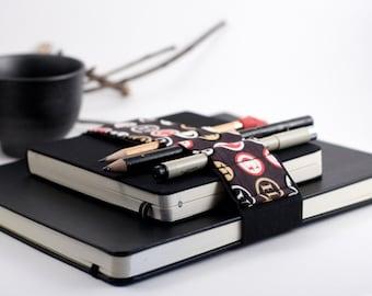 Large Journal Bandolier // black type // (a better pencil case, journal pen holder, book strap, pen loop, pencil roll, pen bandolier)