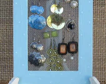 Mini Earrings Holder On A Stand / light blue jewelry display