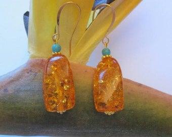Trendy Dangle Drop Golden Amber Turquoise Fashion Earrings