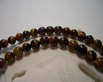 Tiger Eye 4mm round beads, 50 beads, natural gemstone beads 4mm, round tiger eye beads, 4mm smooth polished beads, 4mm round