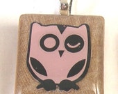 Pink Owl Scrabble Pendant