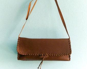 Vintage brown leather bag purse / shoulder bag / satchel / rectangular / 70s