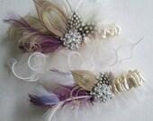 Roaring 20s Wedding Garter Set, Flapper Garter,  Ivory Winter Garters, Customize your Luxury Garters, Diamante Crystal Garters