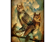 owl, stormy, clouds, sepia, rustic, bird, bird lover