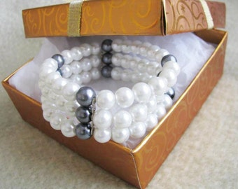 White faux Pearl Triple Stretch Bracelet Bridal wedding Jewelry Bridesmaid Gift