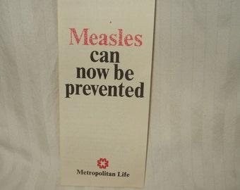 Vintage Measles pamphlet Metropolitan life Measles prevention brochure MET LIFE medical pharmaceutical childhood disease prevention booklet