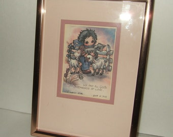 "Vintage Jody Bergsma limited addition 1986 ""God's Shepherds of love"" signed and numbered Christian decor"