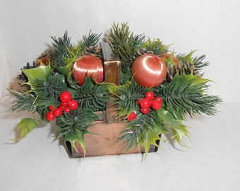 Vintage plastic flowers Christmas decor plastic Christmas centerpiece copper basket with plastic flowers kitschy Christmas peach and green