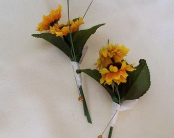 Wedding Bridal Party Accessories Silk Sunflower Boutonniere Grooms buttonhole sunflower wedding flowers small artificial sunflower