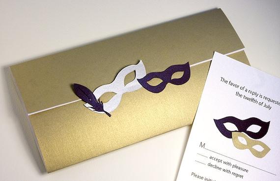 Wedding Invitations, Masquerade, Venetian Mask, Birthday, Bridal