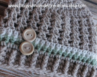 Boys Cross Stitch Button Hat. Tan Green and Off Whtie