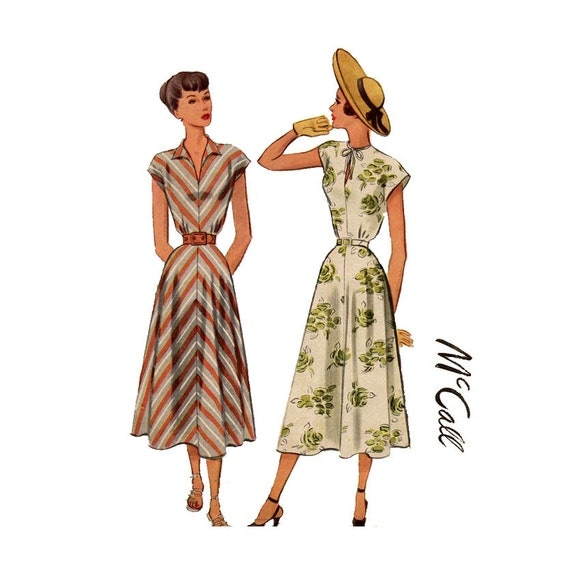 1940s Dress Pattern McCall 7286 Bust 30 Womens Vintage Sewing Pattern Bias Cut Flared Skirt Tuck Fitted Short Kimono Sleeves
