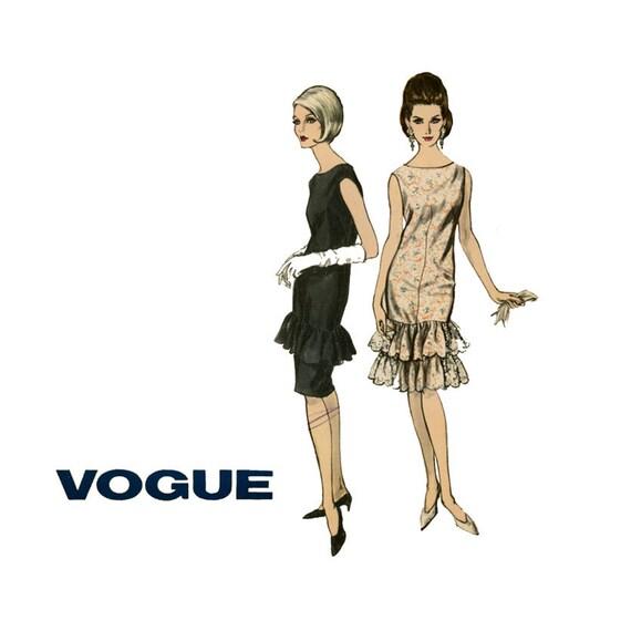 1960s Evening Sheath Dress Pattern Vogue 6403 Bust 34 Womens Vintage Sewing Pattern Pullover Flounce Hem Dress Two Sleeve Lengths