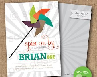 "Birthday Invitation - Custom DIY Printable Invitation - ""Spin on By"""