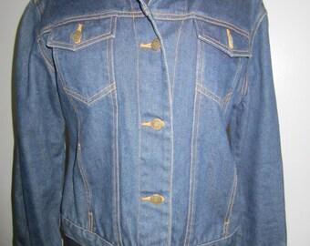 Classic dark denim jacket with leopard print insides.