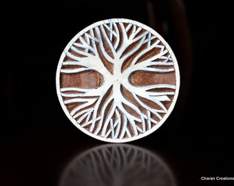 Hand Carved Indian Wood Textile Stamp Block- Tree of Life
