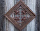 Rustic Decor, Framed Steel Rosette For Inside Decor or Outside, Steel Wall Decor