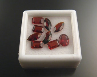 Faceted Garnets mixed shapes nine stones parcel 2