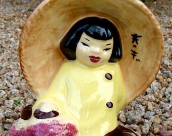 Vintage Ceramic Asian Girl with Lanterns