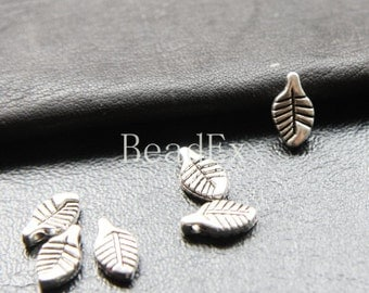 60pcs / Leaf / Oxidized Silver / Base Metal / Charm 11x6mm (Y60//A17)