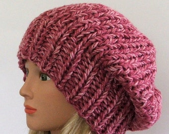Chunky Knit Rose Mist Slouchy Beret Hat