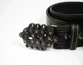 Mini Recycled Bike Chain Belt Buckle- Clear Finish