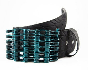 Recycled Bike Chain Belt Buckle- Curved- Teal Finish