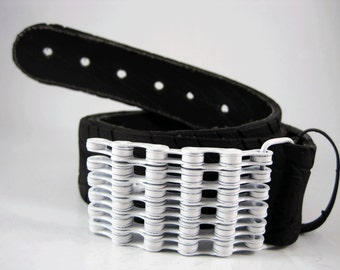 Recycled Bike Chain Belt Buckle- Curved- White Finish