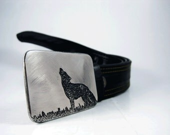 Howling at the Moon Belt Buckle - Etched Stainless Steel - Handmade