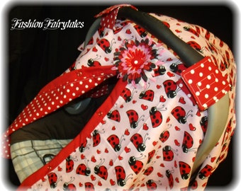 Car seat Canopy Cover Ladybug FREE SHIPPING Code