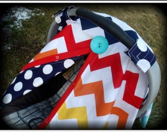 Carseat Canopy Colored Chevron REVERSABLE Choose FLOWER or BUTTON