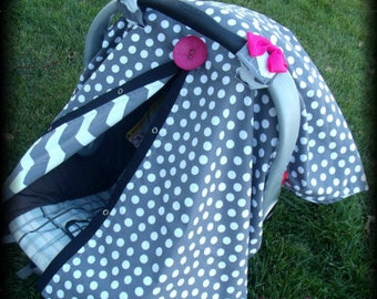 Carseat Canopy Grey Hot PInk Button Chevron REVERSABLE girl carseat cover nursing cover