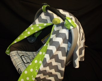 Carseat Canopy Chevron Lime Dot