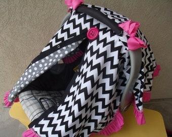 Carseat Canopy Chevron Ruffle Girl carseat cover