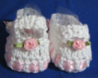 Crochet Baby Booties Mary Janes White/Pink