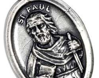 St. Paul Sterling Silver Oval  Religious Medal on 18 inch sterling silver rolo chain