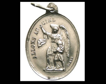 Holy Guardian Angel and Holy Mary Antique Silver Religious Medal by G. WAAG on 18 inch sterling silver rolo chain