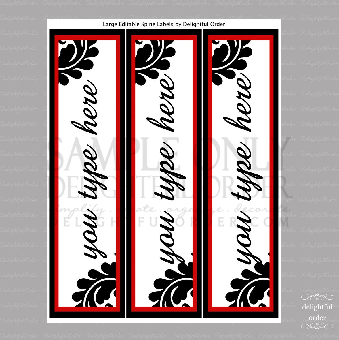 Editable and Printable Large Spine Labels Instant Digital