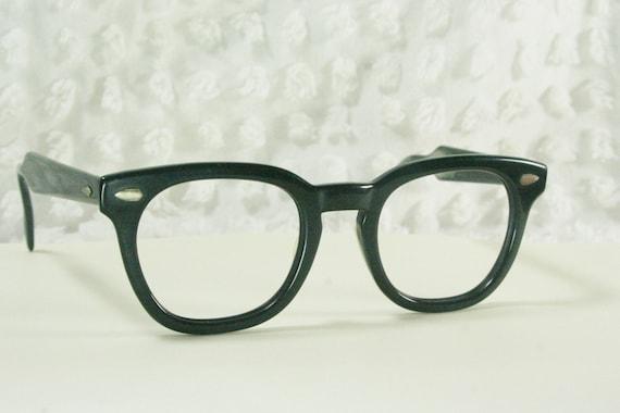 Vintage 50s Eyeglass Frames Mens : Vintage 60s Mens Glasses 1950s Black Eyeglasses by DIAeyewear