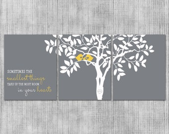 Nursery Wall Art - Custom Love Birds - Gray and Yellow - Baby or Kids Room - Set of 3 8x10 Prints