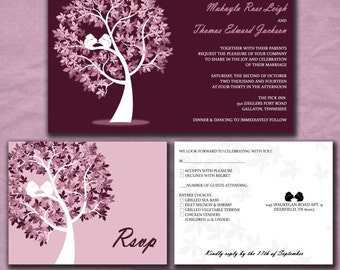 Wedding Invitations - Fall Wedding - Squirrels in a Tree - Lilac and Eggplant Purple - Custom Colors