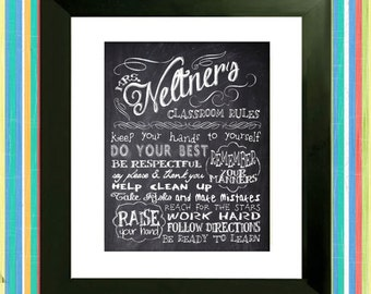 Personalized Chalkboard Teacher's Rules - Personalized Subway Sign Art Print - Gift for teacher