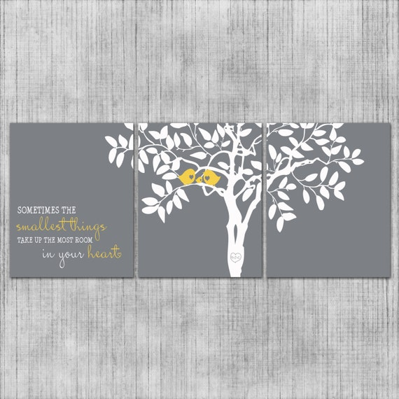nursery wall art custom love birds gray and yellow baby or. Black Bedroom Furniture Sets. Home Design Ideas